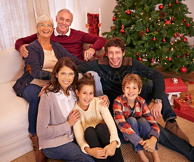 Buy stock photo Portrait of a happy family on Christmas
