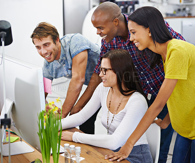 Buy stock photo Shot of a young designers at work in an office