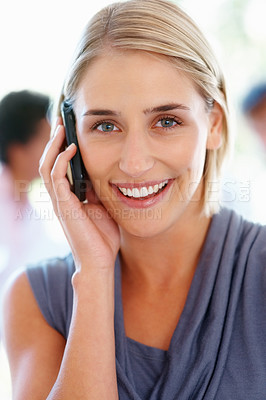 Buy stock photo Young business woman enjoying conversation on cell phone