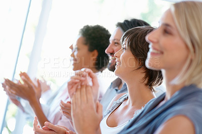 Buy stock photo Team of successful business people applauding on good presentation