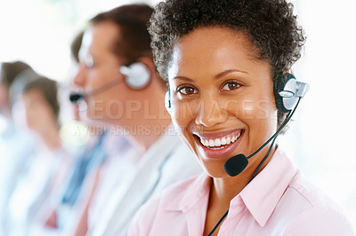 Buy stock photo Closeup portrait of African American business woman with headset at workplace