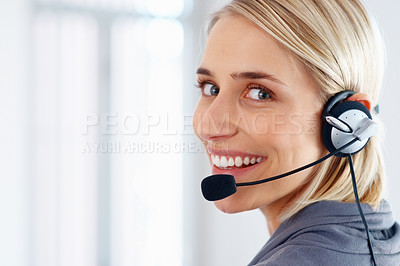 Buy stock photo Closeup of female customer service representative smiling at office