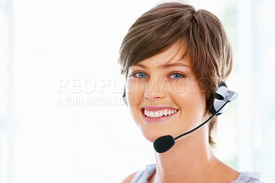 Buy stock photo Beautiful woman with headphones smiling at you