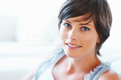 Buy stock photo Closeup of attractive young woman on white background