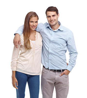 Buy stock photo Happy young couple smiling at the camera - portrait