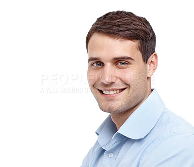 Buy stock photo Closeup of a handsome young man smiling at the camera - copyspace
