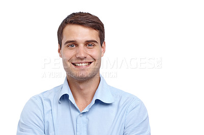 Buy stock photo Closeup of a handsome young man smiling at the camera