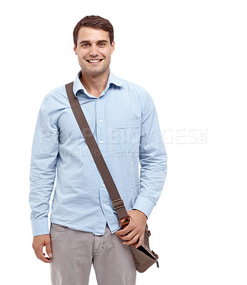 Buy stock photo Handsome young man wearing a satchel and smiling at the camera - copyspace