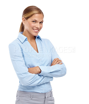 Buy stock photo Lovely young blonde woman smiling at the camera with her arms folded