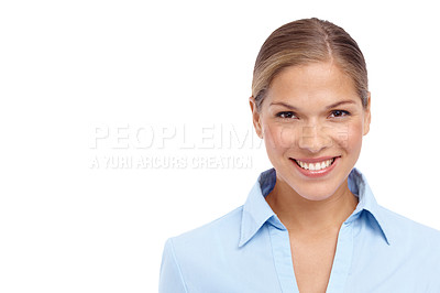 Buy stock photo Closeup of a lovely young blonde woman smiling at the camera - copyspace