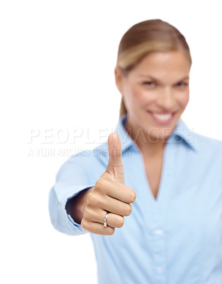 Buy stock photo Happy young woman giving a thumb's up - isolated
