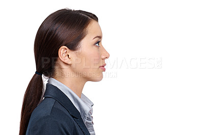 Buy stock photo Profile of an expressionless businesswoman against a white background