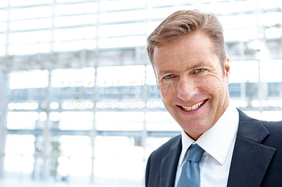 Buy stock photo Portrait of a mature businessman smiling alongside copyspace