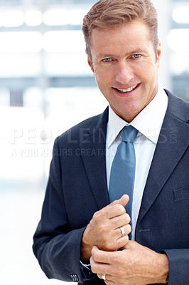 Buy stock photo A confident businessman suited-up to dominate an important meeting