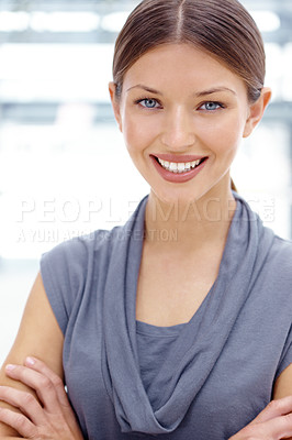 Buy stock photo Closeup portrait of a pretty young executive smiling confidently