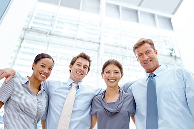 Buy stock photo Group of positive businesspeople smiling together