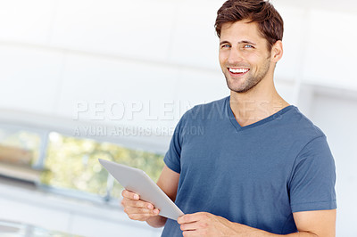 Buy stock photo Cropped shot of a handsome young man at home