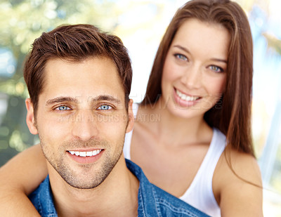 Buy stock photo Portrait of a happy couple in the outdoors