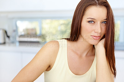 Buy stock photo Cute young woman relaxing at home