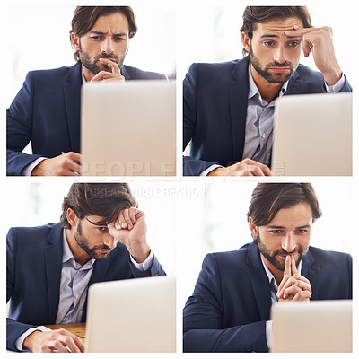 Buy stock photo A handsome businessman working on his laptop at his desk