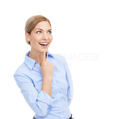 Buy stock photo Studio shot of a beautiful young businesswoman looking thoughtful against a white background
