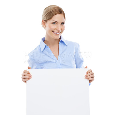 Buy stock photo Studio shot of a beautiful young businesswoman holding a blank sign against a white background
