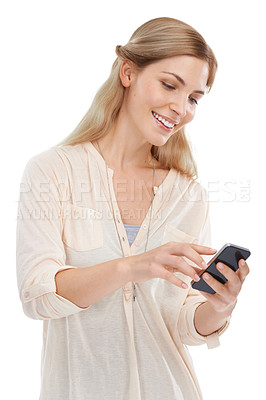 Buy stock photo Studio shot of a beautiful young woman using a mobile phone against a white background