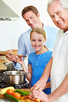 Cooking with dad and grandpa