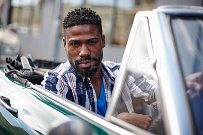 Buy stock photo Portrait of a handsome young man driving in his convertible