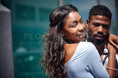 Buy stock photo Shot of a happy couple spending time outdoors