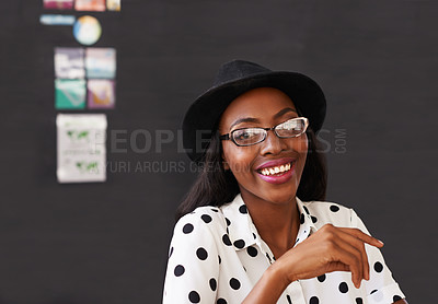 Buy stock photo Portrait of a beautiful woman sitting in her office