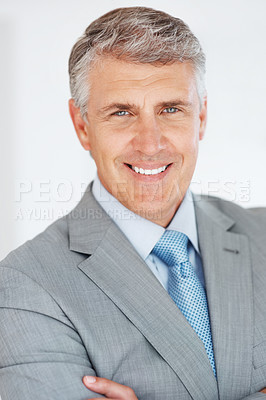 Buy stock photo Closeup portrait of a happy senior businessman smiling