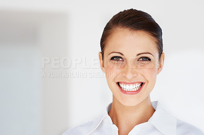 Buy stock photo Portrait of a cheerful young female business executice at office