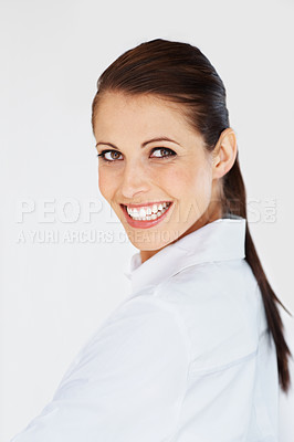 Buy stock photo Portrait of a happy young business woman glancing back