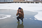 Capturing the beauty of a frozen lake