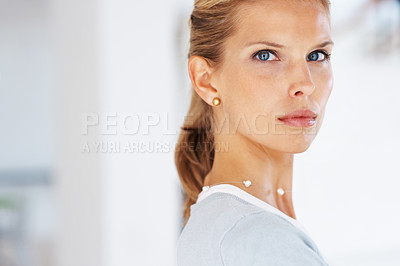 Buy stock photo Portrait of a cute young female business executive looking with attitude