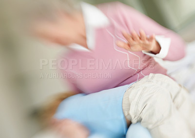 Buy stock photo Blurred image of a grandmother punishing her grandson