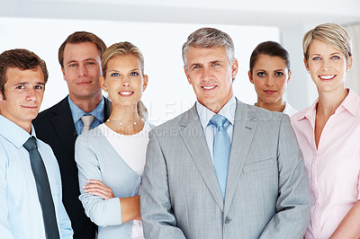 Buy stock photo Portrait happy of group of business people standing together in office