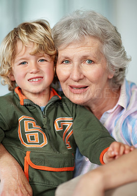 Buy stock photo Portrait of a senior woman and her young grandson