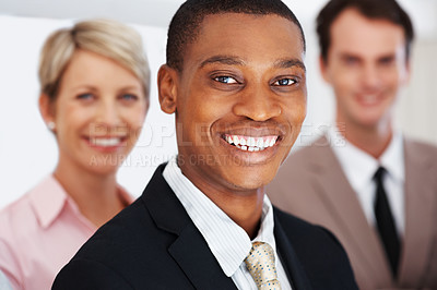 Buy stock photo Successful young african american businessman leading his team