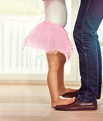 Buy stock photo Cropped shot of a father and daughter dancing