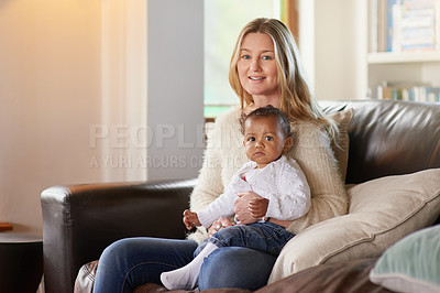 Buy stock photo Cropped portrait of a mother and her adopted child