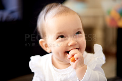 Buy stock photo Shot of an adorable baby girl at home