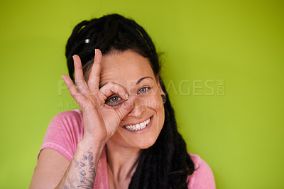 Buy stock photo Shot of an attractive woman with dreadlocks