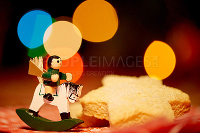 Buy stock photo Closeup shot of Christmas cookies and a figurine
