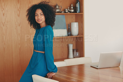 Buy stock photo Portrait of a successful young businesswoman in her office