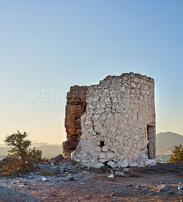 Buy stock photo Shot of ancient Roman ruins in Turkey
