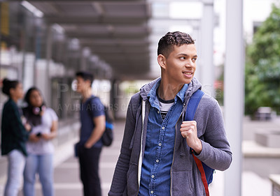 Buy stock photo Shot of a university student on campus with friends in the background