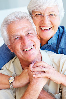 Buy stock photo Closeup portrait of senior couple enjoying each others company