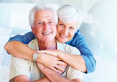 Buy stock photo Portrait of senior couple smiling with woman embracing man from behind